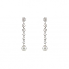 18k White Gold Diamond and Pearl Drop Earrings 4.30ct
